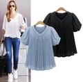 5xl plus tamaño grande tops blusas feminina 2016 nuevo coreano estilo de primavera y verano mujeres camisetas blanco azul camisas de la gasa femenina A0747 a la