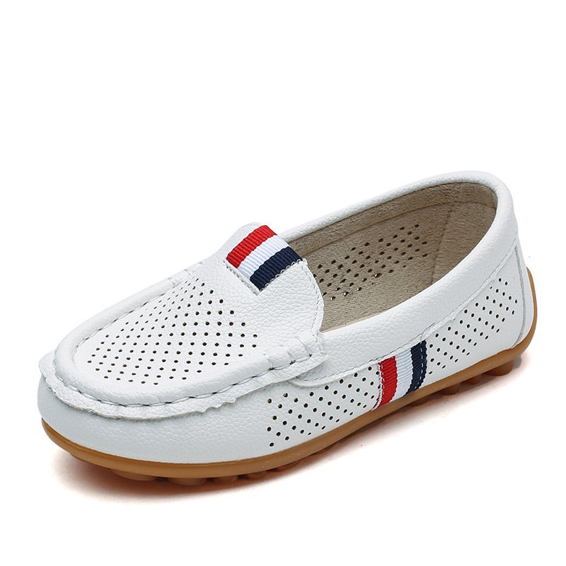 Autumn PU Leather Kids Casual Shoes Boys Loafers Breathable Leather Shoes For Kids Performance Shoes White KS499