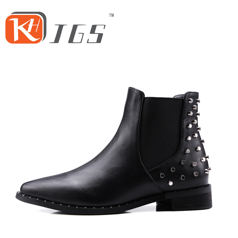 KHJ 2016 UK Brand Designer Women Shoes Patent Leather Woman Ankle Boots Brogue Shoes Slip On Ladies Rivets Boots For Women Boots 2016 spring designer women shoes 6 colors thick heel patent leather slip on pumps brand designer quality dress shoes with buckle
