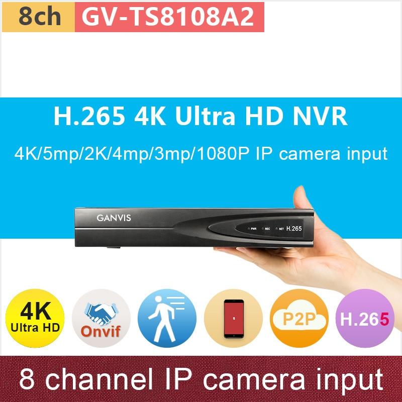 где купить 8 channel Ultra HD Mini NVR 8ch network video recorder 4K/5mp/2K/4mp/3mp/1080P input H.265 ONVIF cctv system GANVIS GV-TS8108A2 по лучшей цене