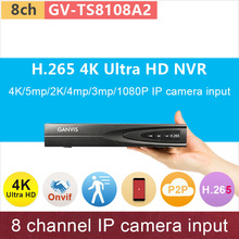 8 channel Ultra HD Mini NVR 8ch network video recorder 4K/5mp/2K/4mp/3mp/1080P input H.265 ONVIF cctv system GANVIS GV-TS8108A2