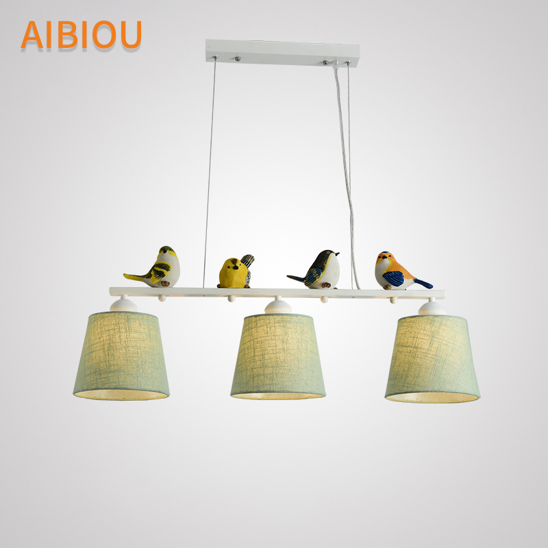 AIBIOU Birds Pendant Lights With Cloth Lampahde For Dining Room Fabric Pendant Lamp Hanging Light Kitchen Suspension