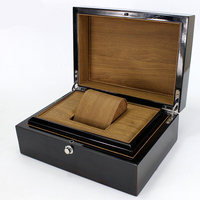 High Grade Piano Paint Black Elegant Durable Wooden Watch Display Box Automatic Switch And Lock Watches