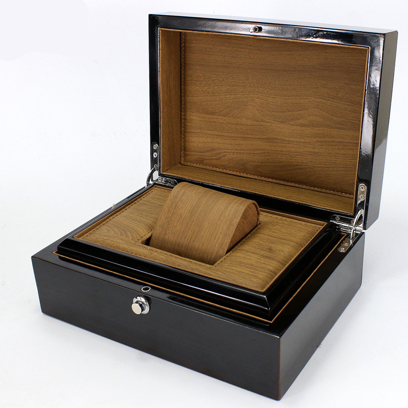 High-grade Piano Paint Black Elegant Durable Wooden Watch Display Box Automatic Switch And Lock Watches Case Storage Holder dark wine red wooden watch display box automatic switch and lock watches case jewelry storage holder organizer free shipping
