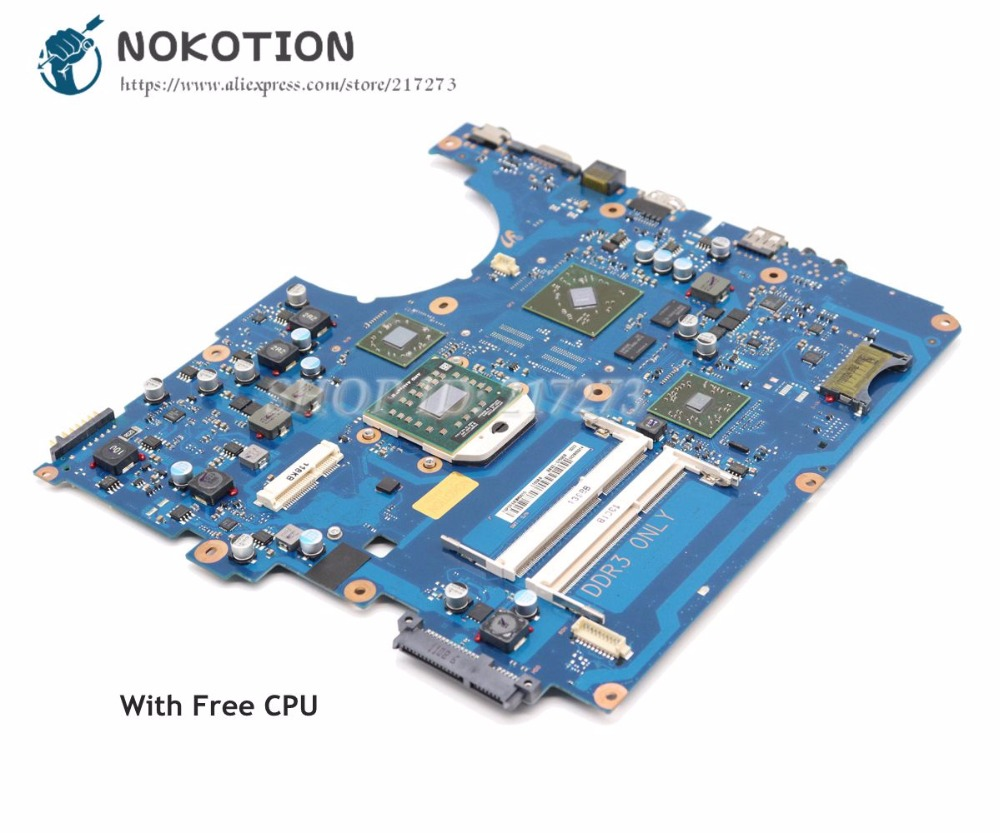 NOKOTION For Samsung NP-R525 R525 Laptop Motherboard Socket S1 DDR3 HD7400M Free CPU BA92-07590B BA92-07590A BA41-01572A nokotion for samsung np305e4a 305e5a 305e7a laptop motherboard socket fs1 hd6470m ba92 08197a ba92 08197b ba41 01818a