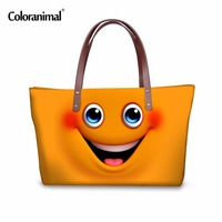 Coloranimal Cute Cartoon Female Handbags Neoprene Large Women Shopping Travel Shoulder Bag Portable Funny Emoji Face