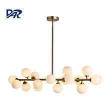 New Design Beanstalk Pendant Lights Fixture 16 Heads Glass Shade Gold Bar Led Lamp For Dining Room Hanglamp Lamparas Colgantes