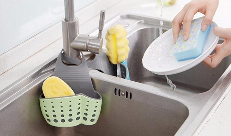 Suction Cup Sink Shelf Soap Sponge Drain Rack Kitchen Er Storage Tool Useful Helper Nl02223l