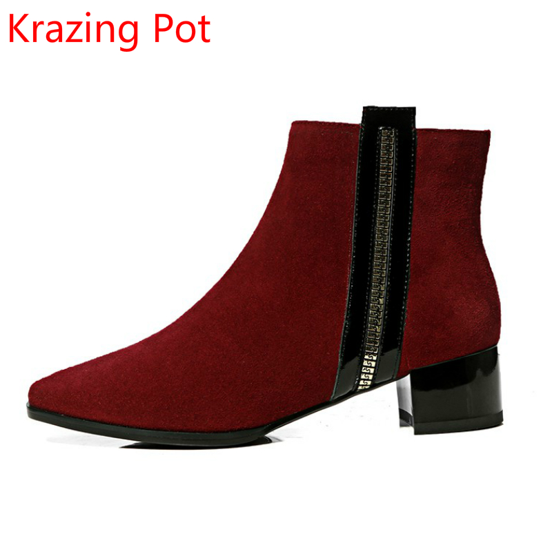 superstar sheep suede vintage square toe zipper med heel classic fashion boots runway party women punk handsome ankle boots L15 fashion genuine leather zipper med heel women mild calf boots round toe rivets metal runway handmade luxury motorcycle boots l68