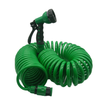 Lawn Auto Washing Clean Water W/ Spray Nozzle Tool Retractable Garden Hose Spiral Garden Green Flexible Coiled|Watering Kits|   -