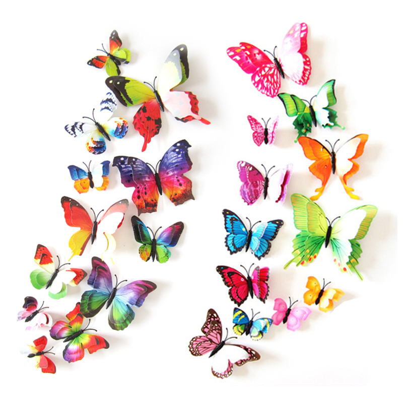 12Pcs 3D Double layer Butterfly Wall Sticker on the wall for Home Decor DIY Butterflies Fridge Magnet stickers Room Decoration vacation