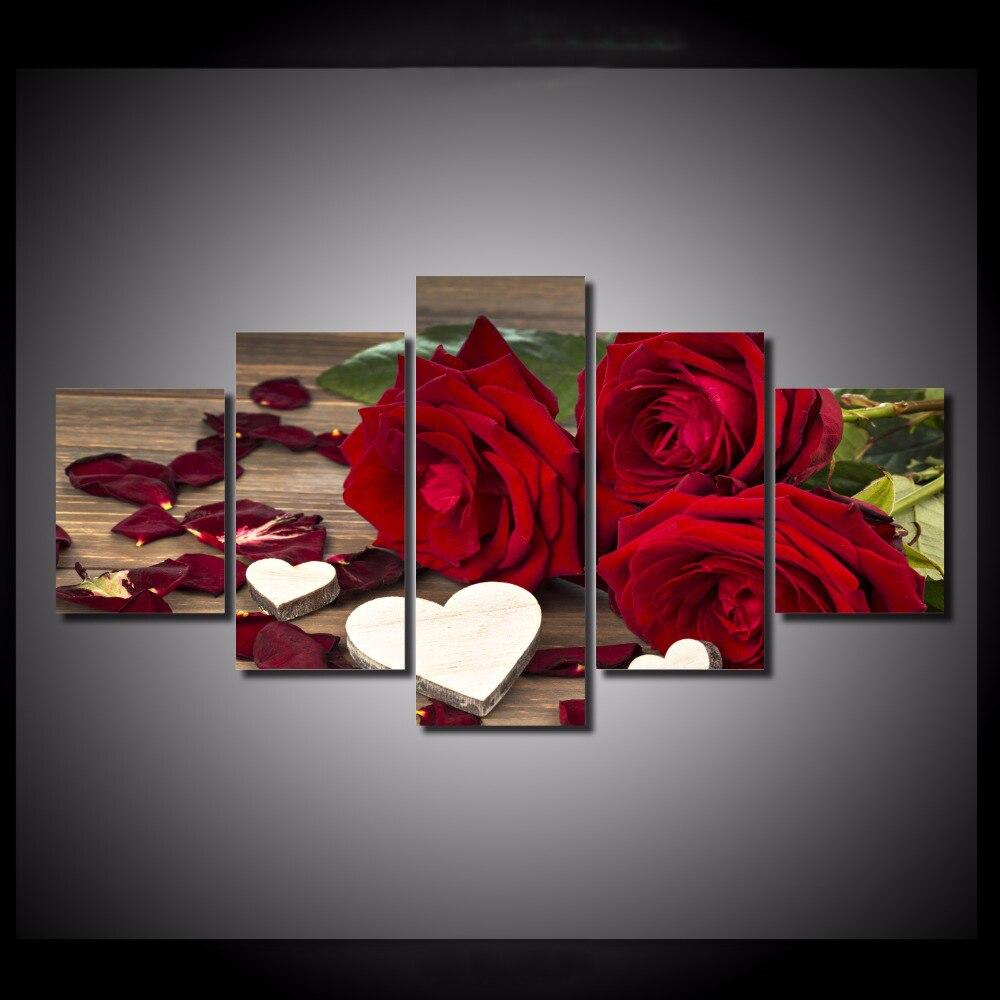 5 шт./компл. красная роза он Книги по искусству стены Книги по искусству Картины Аватар Печать на холсте для украшения дома стены Книги по иск...
