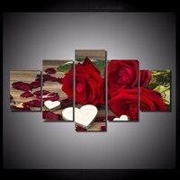 5 قطعة/مجموعة الأحمر روز القلب جدار الفن لوحات صورة طباعة على قماش للديكور المنزل جدار الفن صورة للعيش غرفة