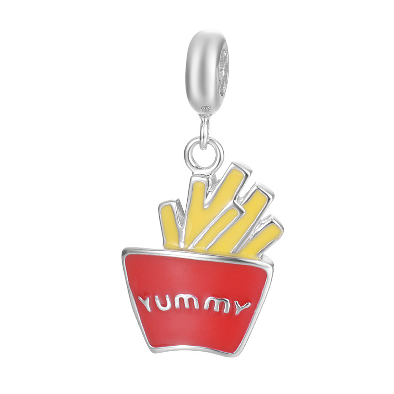 Hot Sale Handmade Creative Popular Food French Fries Design Pendant Jewelry For Bracelet Or Necklace S925 Sterling Silver Charm