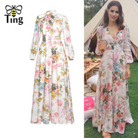 Tingfly Designer Style Vintage Bow V neck Single Breasted Party Dresses Women Elegant Floral Print Tea Length Midi Dress robe
