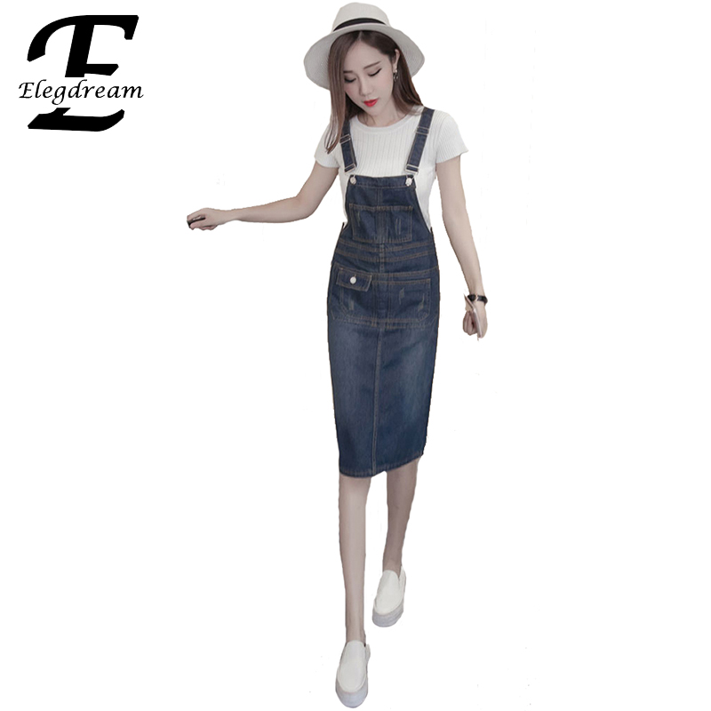 Buy Cheap Elegdream 2017 Summer Style Loose Strap Jeans Dress Preppy Style Suspender Denim Sundress Denim Overall Dress Plus Size S XXXXXL