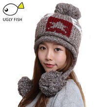 skullies beanies winter hats for women winter hat knitted hat female Pink solid Acrylic winter hat braid with stars(China)
