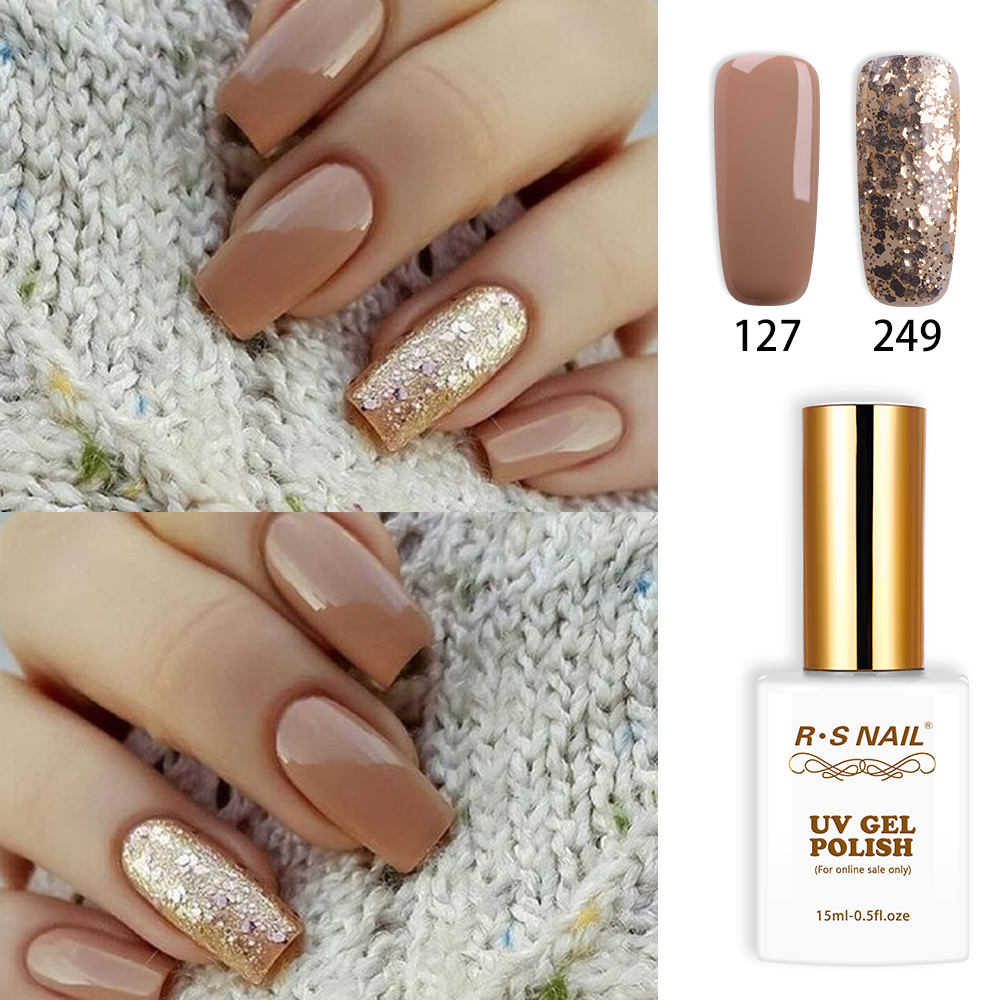 RS Nail 15ml uv led gel nail polish No.127+249 gel varnish nail design French manicure Recommended unhas de gel manicure