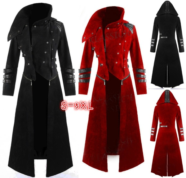 New Scorpion Mens Coat Long Jacket Gothic Steampunk Hooded Trench Y1227