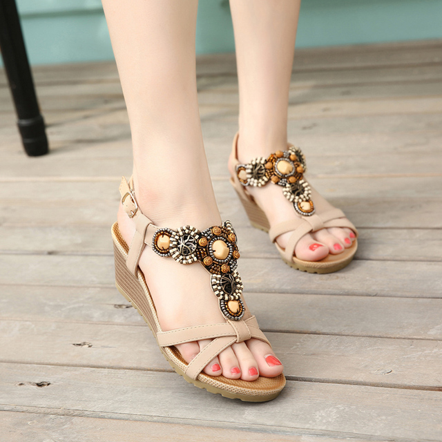 a7008e12400c Summer Beach Sandals Bohemia Wedge Gladiator Casual Sandalias Mujer 2018  Verano Planas Sexy Fashion Shoes Women