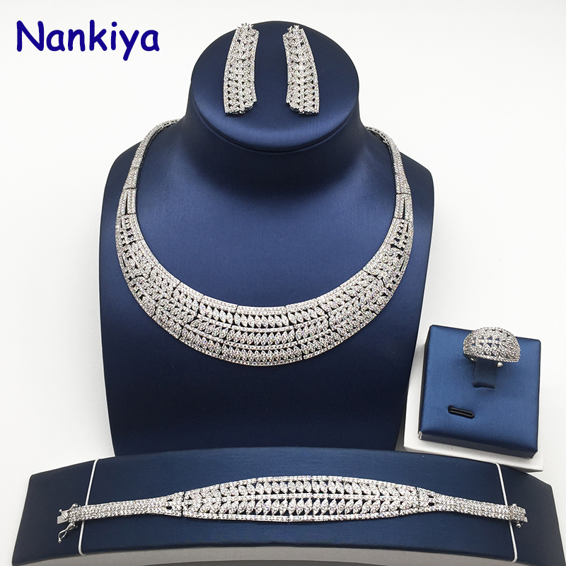 Hadiyana Classic Fashion Women Wedding Sets Jewelry With AAA Cubic Zirconia 2018 Dubai 4pcs Jewelry Set for Women Costume NC737Hadiyana Classic Fashion Women Wedding Sets Jewelry With AAA Cubic Zirconia 2018 Dubai 4pcs Jewelry Set for Women Costume NC737