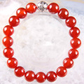 "Free Shipping Silver Stretch 10mm Round Beads Natural Stone Red Carnelian Bracelet 8"" 1Pcs LH1773"