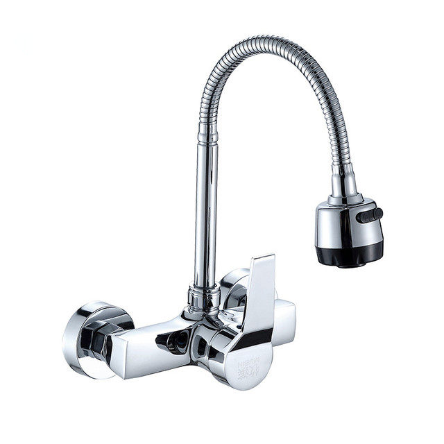 Wall Mounted Kitchen Faucet Wall Kitchen Mixers Kitchen Sink Tap 360 Degree  Swivel Flexible Hose Double
