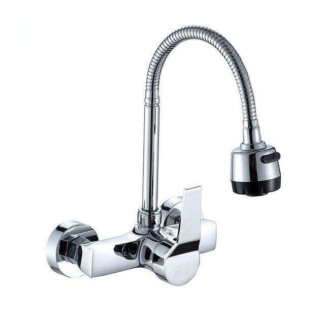 Wand Montiert Küchenarmatur Mischer Kitchen Sink Tap Wand Küche Wasserhahn  Schlauch Doppel Löcher Kostenloser Versand