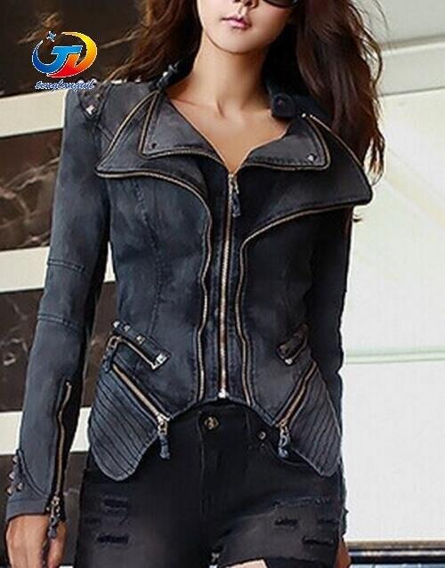 361979de5658 Tenglongwl Original Women s Sharp Power Punk Studded Shoulder Rivets  Motorcycle Notched Lapel Denim Jeans Tuxedo Coat Jacket Out-in Basic Jackets  from ...