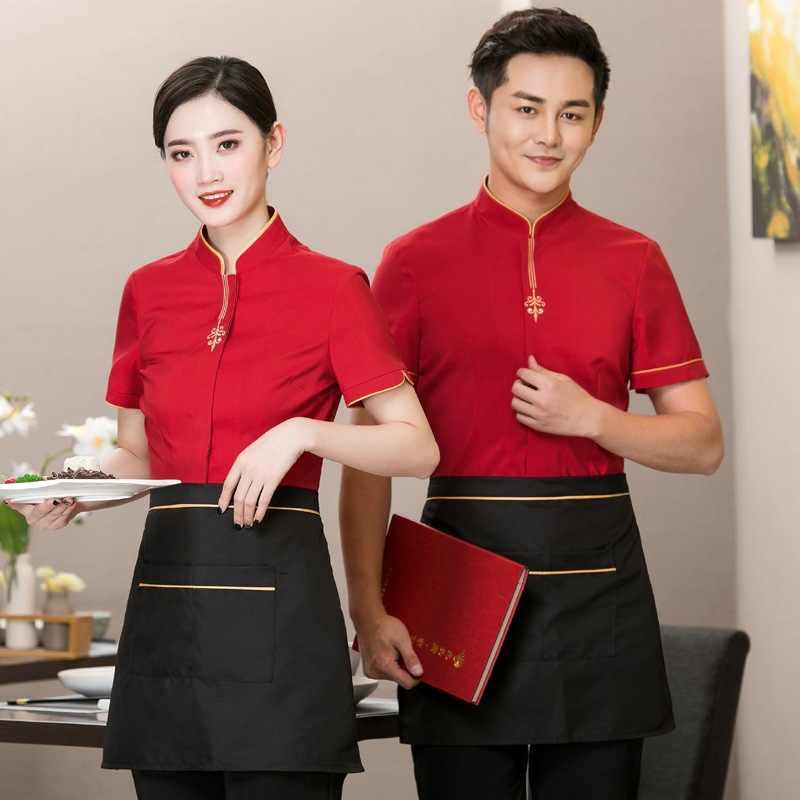 Ropa de trabajo de camarero de Hotel señora mesera de manga corta uniforme de verano Hotel Hot Pot tienda de comida panadería más overol de tamaño h2149