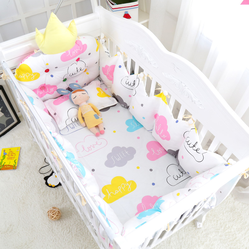 10 pcs Cozy Clouds Baby Appease Bedding Set Cotton Crib Bedclothes Include Crown Bumpers Bed Sheet Quilt Pillow Hanging Bag 7pcs set muslin cotton baby crib bedding set luxury crown headrest cushion for baby cot set include bumpers quilt sheet pillow