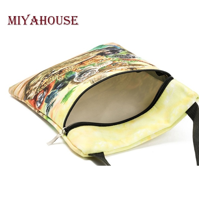 Colorful Animals Printed Messenger Bag For Girl Summer Ladies Mini Flap Shoulder Bag Casual Canvas Female Small Bag 3