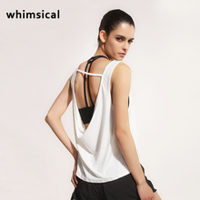 whimsical Summer Sexy Sports T-shirt Women Sports Top Harajuku Running Fitness Vest Backless Gym Sleeveless Loose Sport Tanks