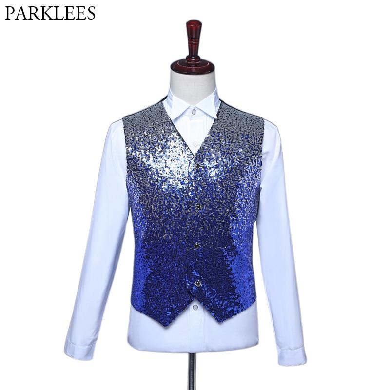 Mens Royal Blue Sequin Vest Slim Fit V Neck Male Shiny Paillette Glitter Waistcoat Luxurious Wedding Groom DJ Singers Costumes