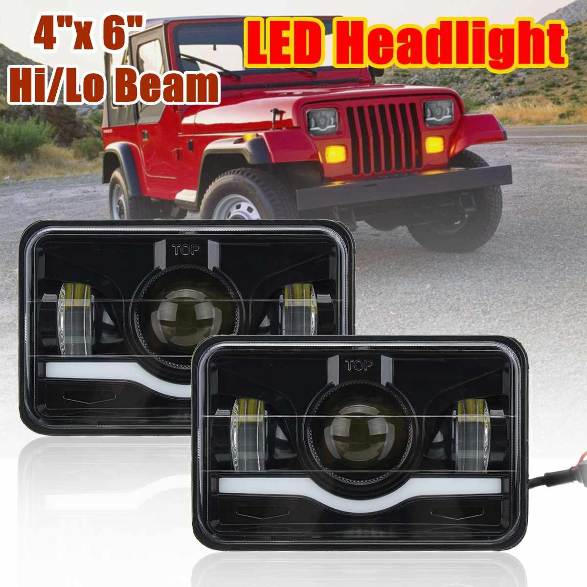 2pcs 4 X 6 LED Headlight Red & White DRL Hi/Lo Beam Truck Replacement Lamp For Jeep