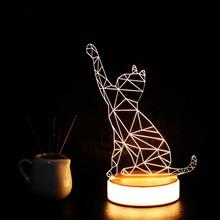 цены Hinnixy 3D LED Table Lamp Deer Love Piano Cat Eiffel Tower Night Light Atmosphere Decor Bedside Lights Romantic Christmas Gifts