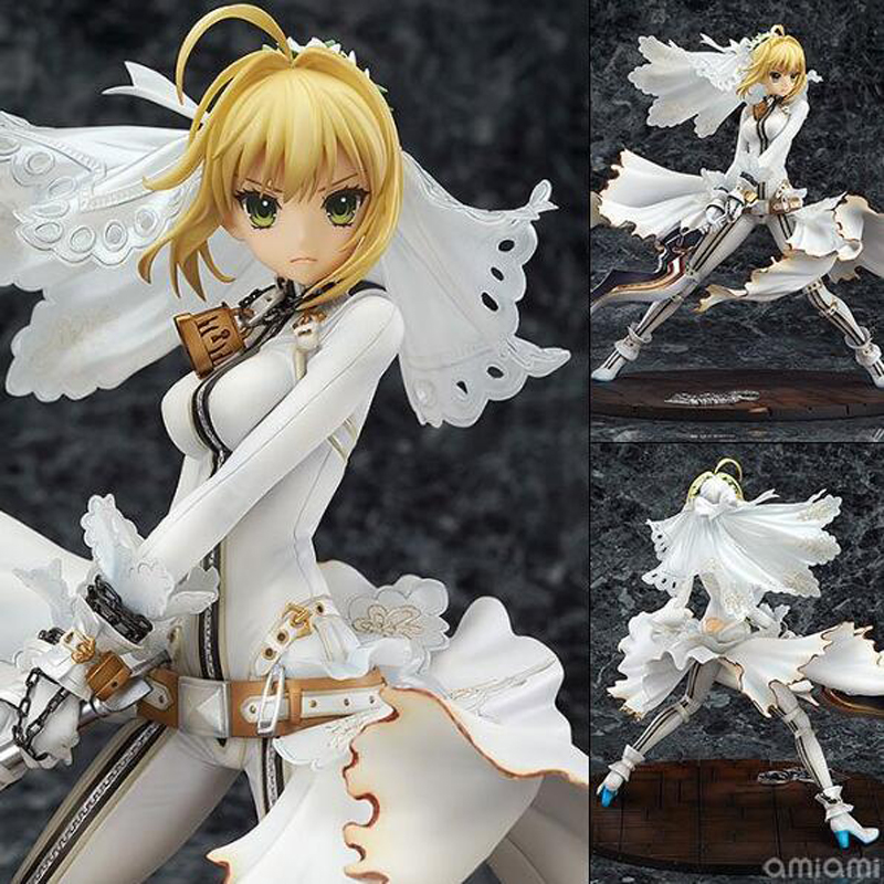 Fate/stay night Wedding dress version Saber anime figure model doll collection 22cm toy Christmas gift PVC boxed T7362 цены