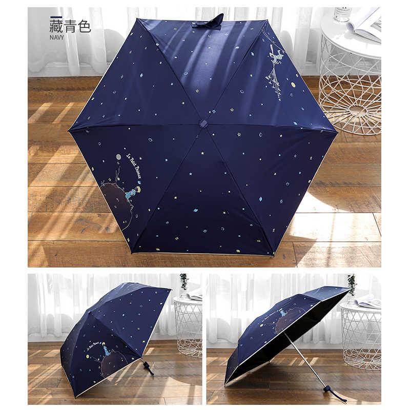 El Pequeño Príncipe paraguas Mini bolsillo paraguas Anti UV paraguas plegable portátil recubrimiento negro sombrilla niña pequeña paraguas de sol
