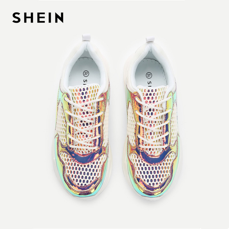 51c1fed8715df SHEIN Kiddie Net Detail Iridescent Patent Leather Lace Up Sneakers Casual  Kids Shoes For Girls 2019. sku: 32996587658