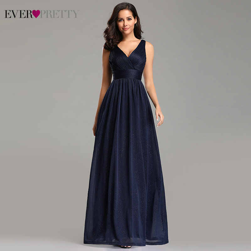 Gorgeous Evening Dresses Ever Pretty 2019 V-Neck A-Line Sleeveless Floor-Length EZ07764NB Sparkle Sexy Party Gown Robe De Soiree