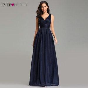 Image 4 - Ever Pretty vestidos de noite decote em V,, a linha, sem mangas, comprido até o chão, EZ07764NB, vestido de festa robe