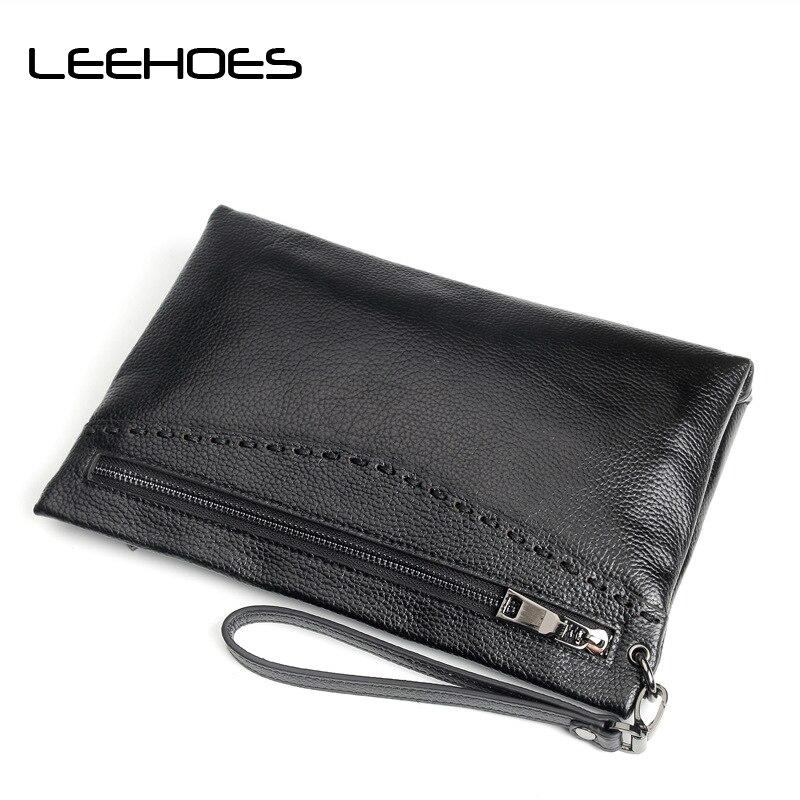 Soft Cow Genuine Leather Men Clutch Bags Large Capacity Men Wallets Purse Long Wrist Strap Carteiras Billeteras Man Handy Bags