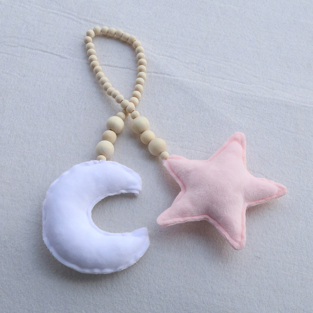 Wooden Beads Moon Star Kids Infant Crib Cradle Wall Hanging Ornament Photo Props