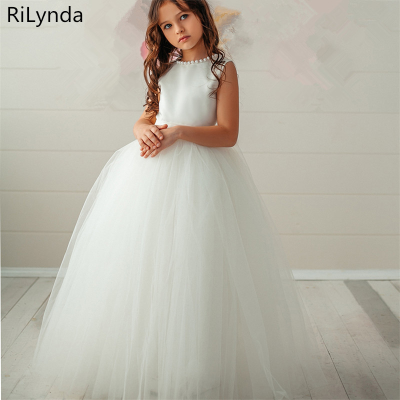 White ivory Flower Girl Dress  Trailer Puffy Wedding party Dress Girl First Communion Eucharist Attended Princess Lace Eve