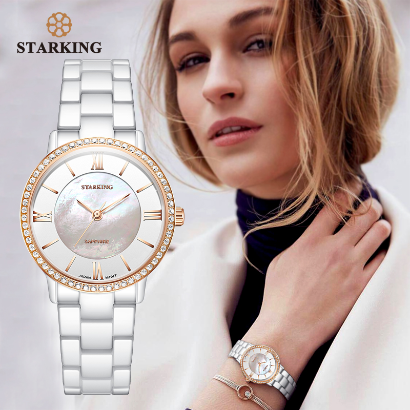 STARKING Brand Luxury Women Watches White Ceramic Diamond Ladies Watch Gift Sapphire Quartz Wristwatch Relogios Femininos Clock