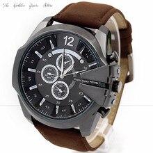 Nova Moda 2016 Homens Relógio relogio masculino Reloj Analógico Caixa de Aço Esporte Quartz Dial Relógio de Pulso de Couro Presente 1222d40