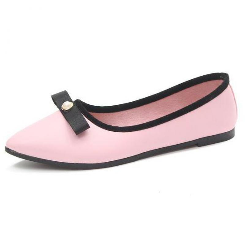 Women Flats 2018 New Fashion Bow Tie Leather Casual Shoes For Woman Soft Ballet Pregnant Comfortable Loafers Single Spring Shoes new 2018 spring summer shoes women flats soft leather fashion women s casual brand shoes breathable comfortable