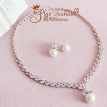Bride zircon pearl rhinestone necklace chain sets marriage accessories wedding set dress style accessories