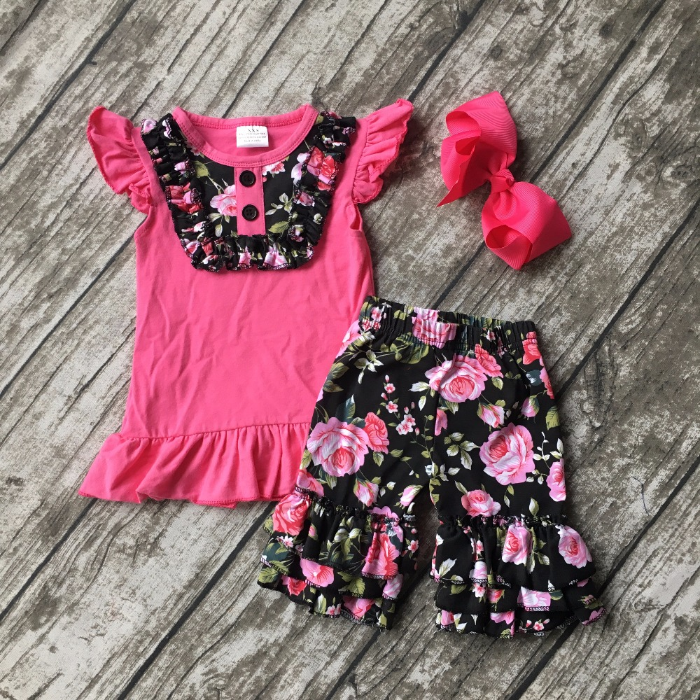 hot pink floral short outfits summer