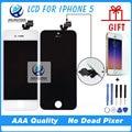 10 unids/lote aaa calidad sin píxeles muertos para iphone 5 lcd con pantalla táctil digitalizador asamblea negro blanco freeshipping dhl